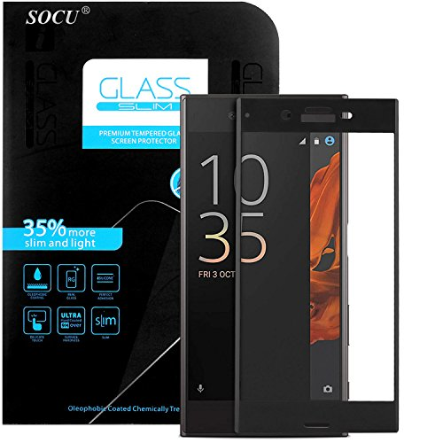 SOCU Schutzfolie für Sony Xperia XZ [3D vollständige Abdeckung], Vollglasfolie Sony Xperia XZ Schutzglas Echtglasfolie Bildschirmschutzfolie Panzerglas (schwarz)