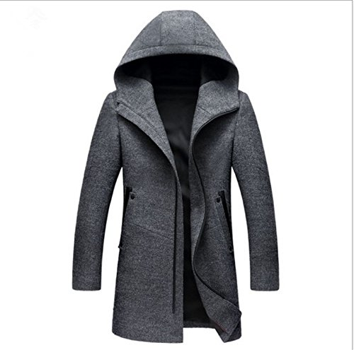 NRSP Männer Wollmantel Selbst Kultivieren Winddichte Jacke Single Breasted Taste Wolle Windbreaker Grau L (Double-taste Breasted Single)