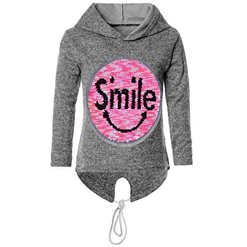 BEZLIT Mädchen Kapuzen Pullover Pulli Wende Pailletten Sweatshirt Hoodie 21544, Farbe:Anthrazit, Größe:152