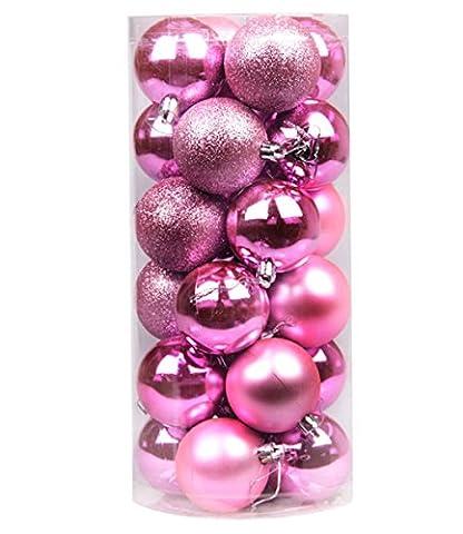 Mangotree Christmas Tree Decoration Shiny Matte Glitter Christbaumschmuck 24 Stück Unzerbrechlich Weihnachten Runde Kugeln Decorative Pendant (Rosa)