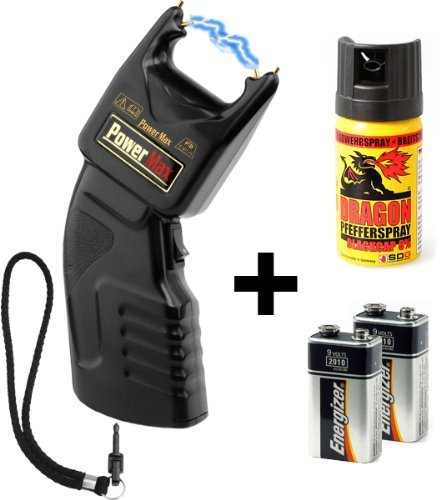 Security-Discount Germany - PTB Elektroschocker 500.000 Volt inkl. Batterien und Dragon Pfefferspray - Elektroschocker, Pfefferspray