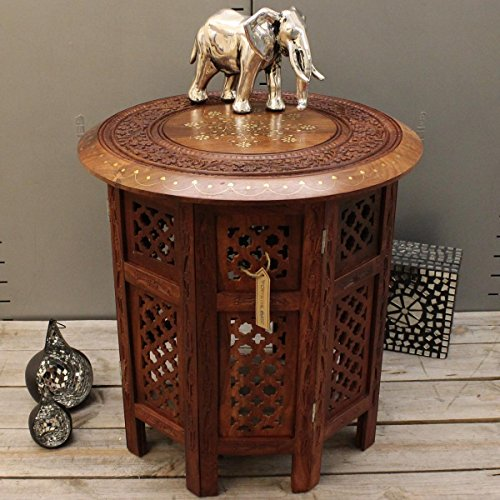"Stylla London® Indian Hand Carved 18"" Sheesham Jali Wooden Side Table with Brass & Copper Inlay Telephone End Table for Living Room Hallway Indian furniture"
