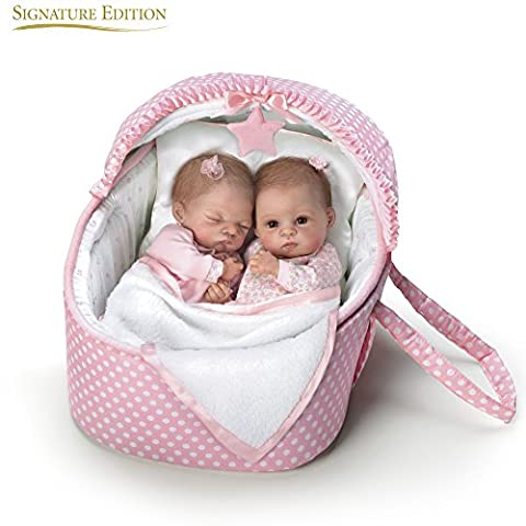 Ashton Drake 'Lullaby Twins' - Lifelike Twin Baby Dolls with Musical Bassinet by Waltraud Hanl - RealTouch Vinyl Skin