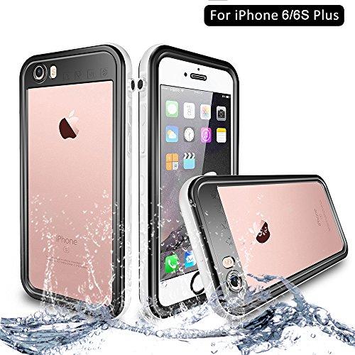 NewTsie iPhone 6/6s Plus Wasserdicht Stoßfest Hülle, IP68 Zertifiziert Schutzhülle Staubdicht mit Eingebautem Displayschutzfolie für iPhone 6/6s Plus 5.5 inch (T-Weiß)
