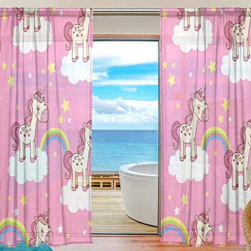Tizorax cartoon unicorno arcobaleno rosa tende per soggiorno, rod pocket window trattamento tenda tenda a pannello per camera da letto, 1pezzi, 139,7x 198,1cm, poliestere, multi, 55