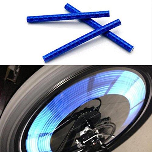 Fahrradzubehör sunnymi 24pcs Reflektierende Warnstreifen Schlauch Radfahren Fahrrad Rad Speichen Reflektor Clips (Blau) -