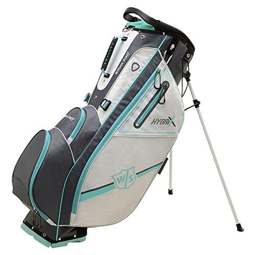 Wilson Staff Damen Carrybag, Golftasche mit 14 Fächern, Hybrix, grau/türkis, WGB5800GR