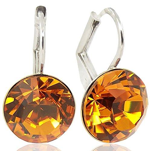 Ohrringe Braun mit Kristallen von Swarovski® Silber Topaz NOBEL SCHMUCK - Schmuck Große