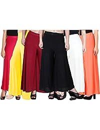 Sri Belha FashionsWomen's Stretchy Malia Lycra Wide Leg Palazzo Pants Pack of 6 (Free Size, Pack Of 6, Red, Yellow, Maroon, Black, White, Coral)