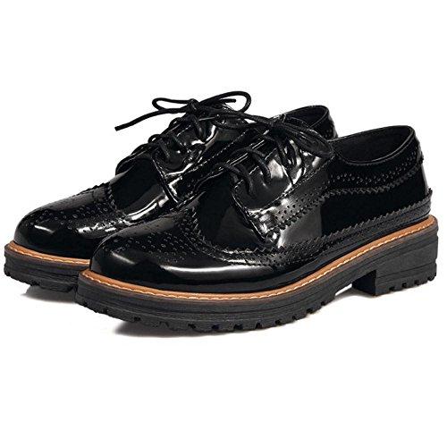 COOLCEPT Damen Mode Brogue Schuhe schwarz Schnurung schwarz Schuhe klima aktion  8d2924