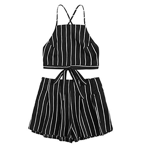 Luckycat On Frauen Applique Strap Crop Cami Top mit Shorts Streifen Stil Slim Fit Cool Summer Girls Favoriten