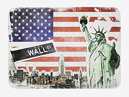 American Flag Bath Mat, NYC Collage with Famous Monuments Wall Street and Manhattan Urban Display, Plush Bathroom Decor Mat with Non Slip Backing, 23.6 W X 15.7 W Inches, Multicolor
