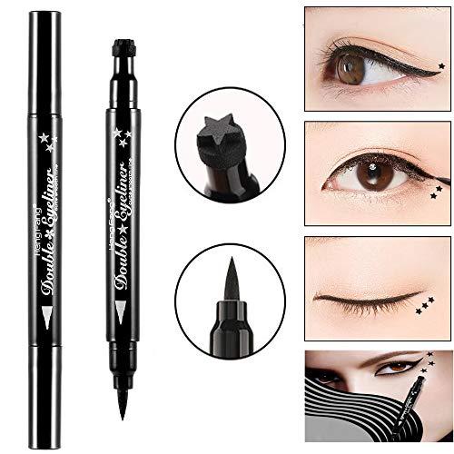 Pinkiou Eyeliner Pen mit Make-up-Stempel 2 in 1 wasserdichter Bleistift (Sternform) -