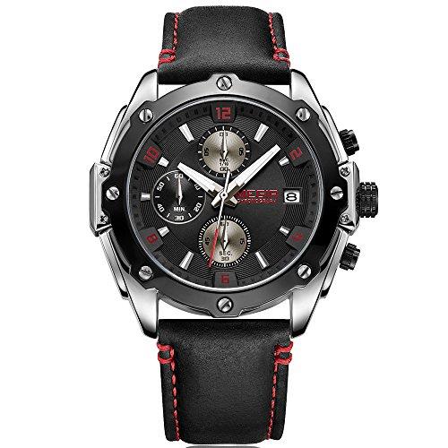 Megir Montre chronographe a quartz pour homme avec bracelet en cuir noir etanche 2074
