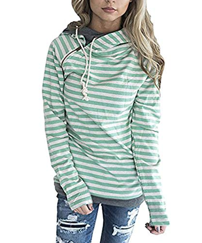 SWAGSTS Damen Gestreift Pulli Sweatshirts Hoodie Sport Langarm Reißverschluss Kapuzenpullover Pullover Outerwear Mit Taschen (M, 0608 Grün) -
