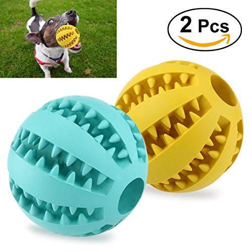 UEETEK 2 Stück Haustier Ball Spielzeug,7.1CM Durchmesser Ungiftig Bissfest Hund Kauen Ball,Hund Essen behandeln Feeder für Haustiere Hunde Spielen Traning Zähne Reinigung(Gelb+Blau) (Spielzeug Kauen Hund)