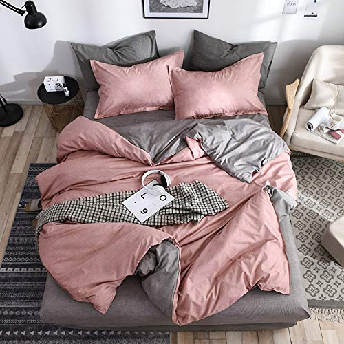 SHJIA Kurze Bettbezug Set Bett Set Twin Double Queen Size Bettwäsche Bettwäsche Bettwäsche Sets Pink 220x240cm (Twin-bett-allergie-decken)