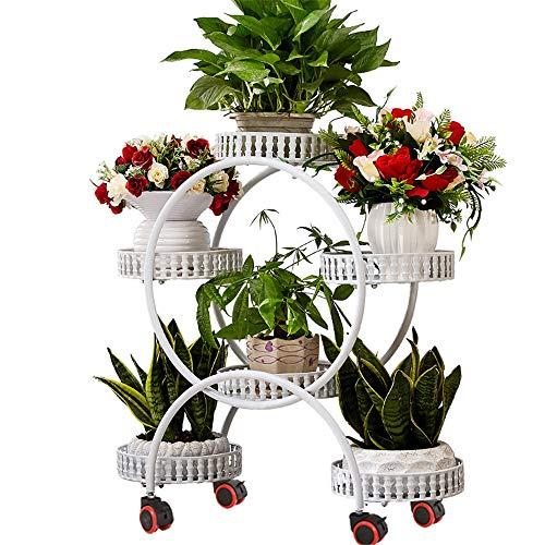 Piantana per vasi da fiori Stand multi-strato in ferro Stand in metallo con ruote mobili Portaoggetti in metallo con base in metallo da giardino in piedi con pianta in vaso da fiori Espositore da giar