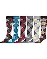 Sakkas Damen nette bunte Design-oder solide Kniehohe Socken sortiert 6 -Pack