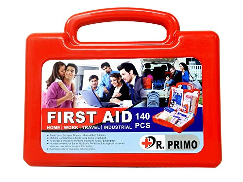 Dr Primo First Aid Kit To Clean, Protect And Treat Injuries, 140 Pieces Set - 20 Person Kit