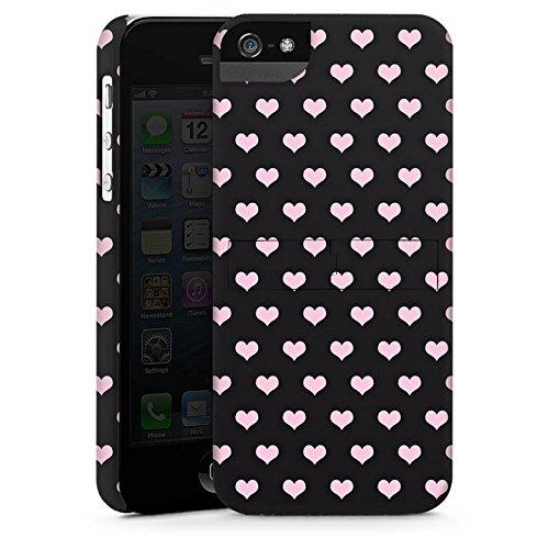 Apple iPhone 5s Housse étui coque protection C½urs Rose vif Motif CasStandup blanc