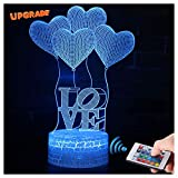 3D Herz Ballon Liebe Lampe LED Nachtlicht mit Fernbedienung, USlinsky 7 Farben Dimmbare Touch Schalter Nachtlampe Geburtstag Geschenk, Frohe Weihnachten Geschenke Für Mädchen Männer Frauen Kinder
