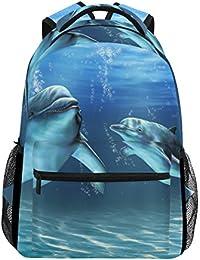 Preisvergleich für COOSUN Dolphins zufällige Rucksack Schultasche Reise Daypack Mehrfarbig