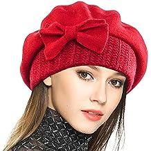 08d25e8062191 VECRY Mujer Boina 100% Lana Vestido Beanie Invierno Sombrero