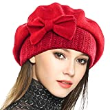 Frauen Barette 100% Wolle Baskenmütze Kleid Mütze Wintermütze (Rot)