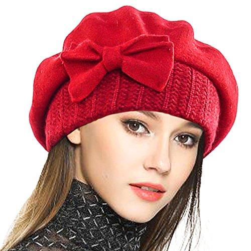 VECRY Mujer Boina 100% Lana Vestido Beanie