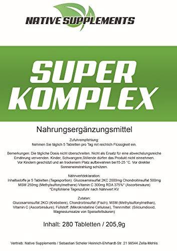 280 Tabletten Super Komplex, 3000mg Hochdosiert/Glucosamin Chondroitin MSM Vitamin C Kombination