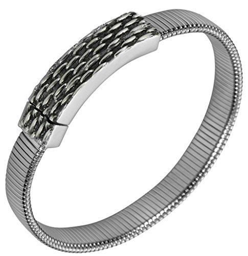 Bishilin Edelstahl Versilbert Schlangenkette Armband Für Herren (Tri-color Camo)