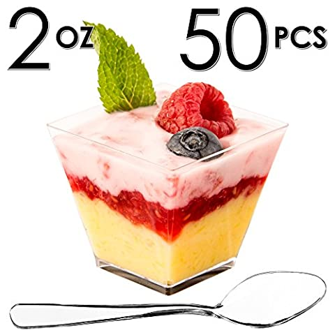 Mini Dessert Cups, Appetizer Bowls with Spoons, FREE Recipe e-Book [Clear Plastic, 2 oz, Square Short, 50 Count] Small Catering Supplies, Disposable Parfait Tasting Shooters Tumbler