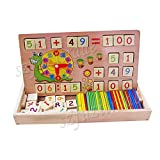HXSS Bloque de Madera de Aritmética Número y Tiempo con Cuenta Rods Caja para Niños, Juguetes Educativos Preescolares