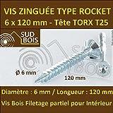 50 Vis Bois 6x120 TORX T25 Zinguée Pointe Anti-Fendage type Rocket