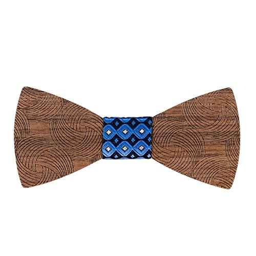 Mr.Van Hölz Fliege Herren, Handgearbeitete Natürliche Klassische Mode Hölzerne Krawatte Fliege für Hochzeiten, Aufführungen, Abschlussball, Partei und sogar tägliche Gebrauch (Blau)