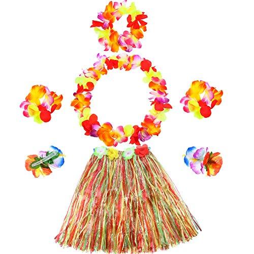 6 Stück Hawaiian Kleid Hula Gras Rock Set Einschließlich Elastische Gras Blume Armbänder Stirnband Halskette Hibiscus Haarspange