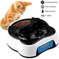 Pedy 2 en 1 Alimentador Automático para Mascotas como Gatos y Perros, 4 Comidas Dispensador