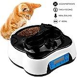 Pedy 2 en 1 Alimentador Automático para Mascotas como Gatos y Perros, 4 Comidas Dispensador de Alimentos Secos y húmedos, con Temporizador, Pantalla LCD, Grabador de Voz, 1.6 litros.