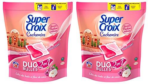 Super Croix Duo Bulles Cachemire 2 en 1 Lessive Liquide Doses Concentrée avec Adoucissant 700 ml Lot de 2