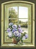 Artland Qualitätsbilder I Bild auf Leinwand Leinwandbilder Wandbilder 60 x 80 cm Stillleben Arrangements Botanik Malerei Grün A7BK Hortensien am Fenster