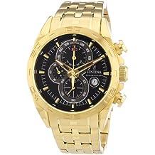 Festina F16656/5 - Reloj cronógrafo de cuarzo para hombre, correa de acero inoxidable chapado color dorado (cronómetro, agujas