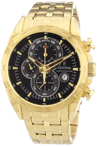 Festina Men's Quartz Watch with Black Dial Chronograph Display and Gold Stainless Steel Plated Bracelet F16656/5