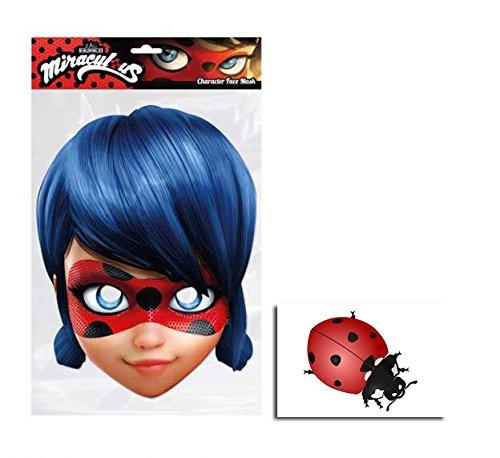 Single Lady Kostüm - Ladybug von Miraculous Single Karte Partei Gesichtsmasken (Maske) Enthält 6X4 (15X10Cm) starfoto