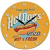 Wanduhr aus Holz -  Hot Dog´s - Hot & Fresh  - inkl. Name - Ø 29 cm groß - schleichendes Uhrwerk ! - sehr leise ! - Uhr - Analog - Wohnzimmer & Kinderzimmer..
