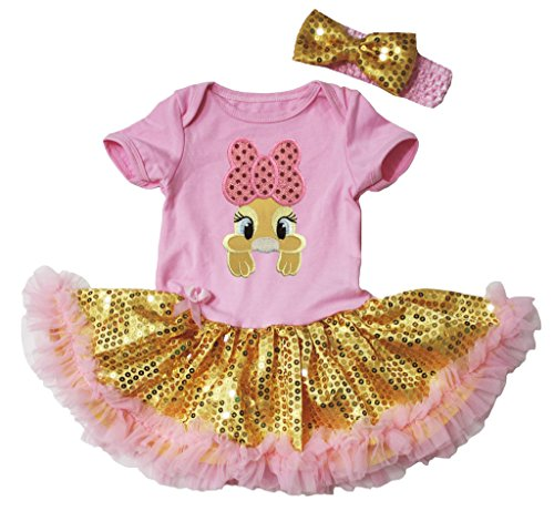 Easter Baby Dress Yellow Bunny Pink Bodysuit Gold Sequin Tutu NB-18m (3-6 (Pailletten Bunny Kostüme Rosa)