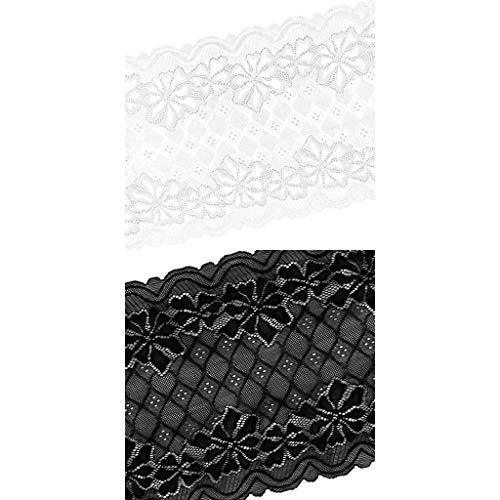 KESOTO 2 Stücke 5 Meter 24 cm Stretch Lace Trim Band Mesh Trimmen Für Kleidung Decor - Stretch-mesh-2 Stück