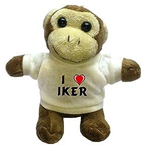 Mono de peluche (llavero) con Amo Iker en la camiseta (nombre de pila/apellido/apodo) de SHOPZEUS