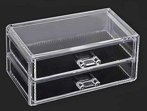 ABTRIX WITH AB Acrylic Makeup Organizer 2 Drawers Cosmetic Jewelry Storage with Removable Black Mesh Padding for Jewelry,Makeup Brushes, Lipsticks and More- Clear