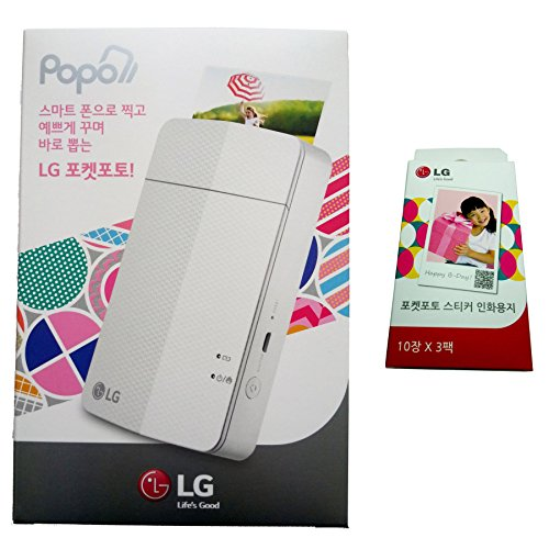 [impresora + Papel Set] nuevo LG impresora de fotos de bolsillo 3PD251(modelo de seguimiento de PD241T PD239) + LG Zink adhesivo papel fotográfico [30hojas]
